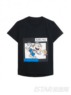 经典黑定制款MR.HU品牌休闲简约纯棉T恤