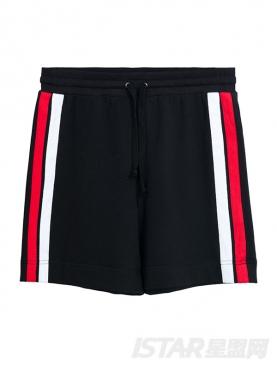 经典黑时尚红白条纹装饰休闲短裤