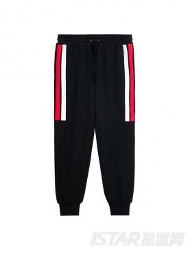经典黑时尚红白条纹装饰收脚休闲长裤