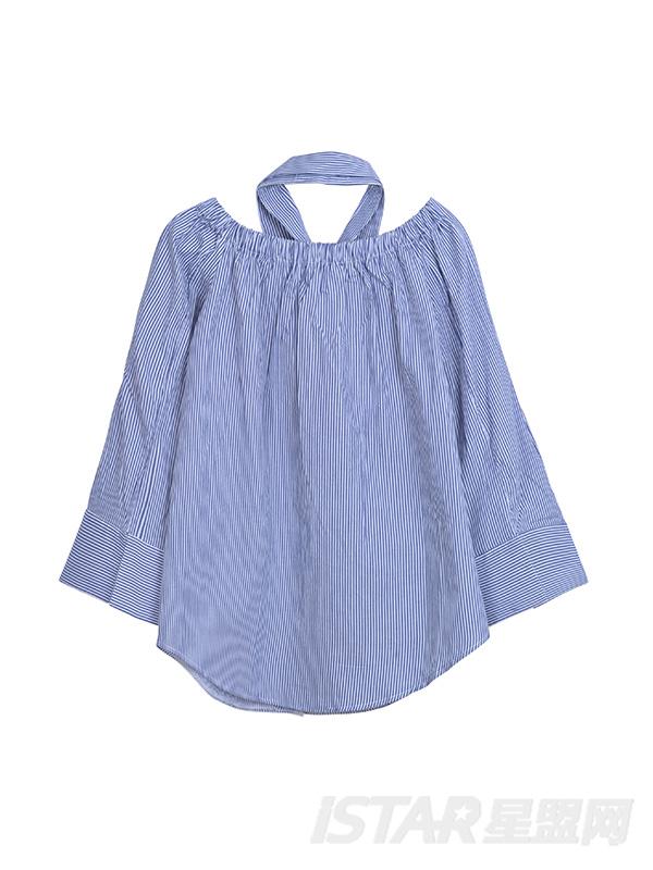 一字露肩大袖口双口袋设计蓝白条纹短衬衣