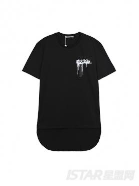 Free Bow品牌定制不规则设计字母印花纯棉T恤