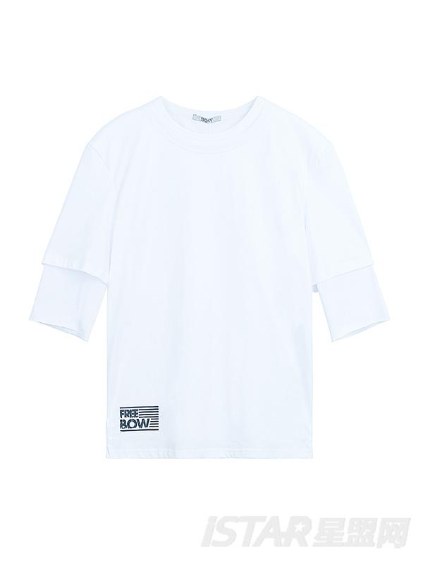 FREEBOW品牌定制简约字母宽松T恤