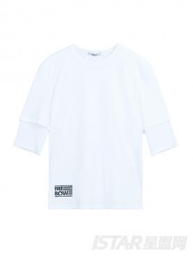 【票号款】Free Bow品牌定制简约字母装饰宽松中袖纯棉T恤