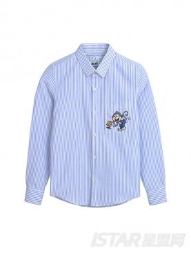优雅条纹精致刺绣装饰纯棉衬衫