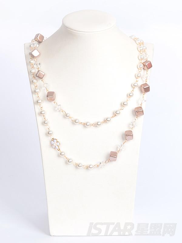 珍珠小方块项链