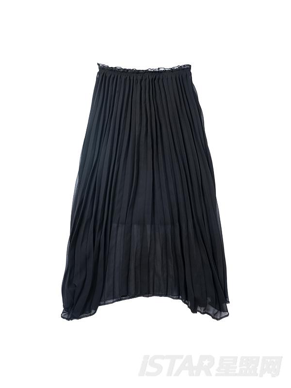 针织不对称下摆两件套裙