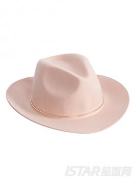 个性金属环装饰舒适优雅宽沿帽