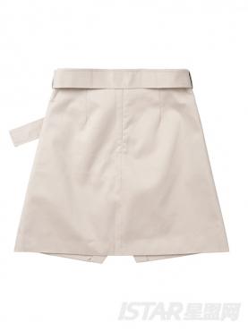 开叉下摆个性不对称时尚纯棉半裙
