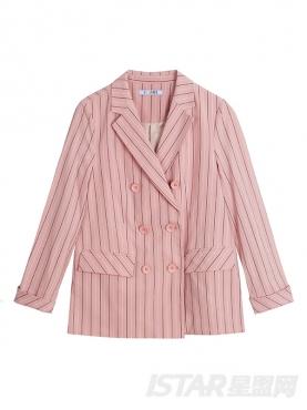 甜美粉竖条纹优雅西装短裤休闲套装