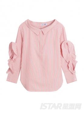 休闲条纹甜美荷叶袖气质淑女衬衫
