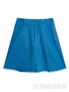 个性绑带装饰A版纯棉半身牛仔裙