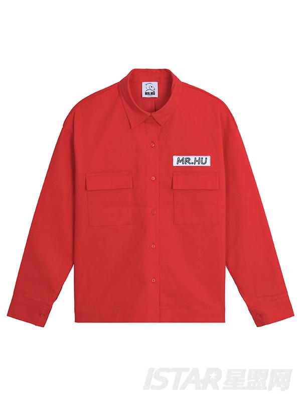 印花大口袋衬衫