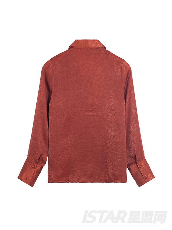 慵懒复古法式西装领翻领缎面雪纺长袖宽松衬衫