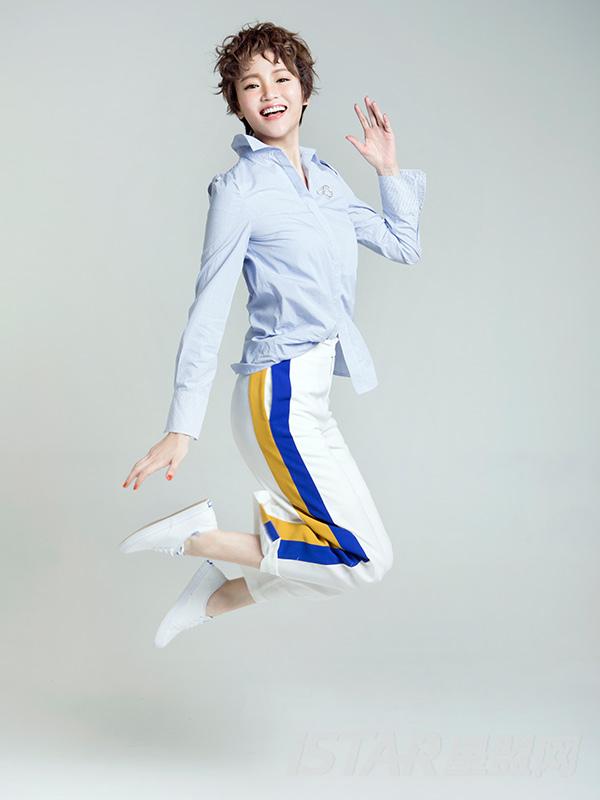 裤腿撞色蓝边白色长裤阔腿裤