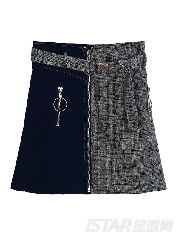 不对称拼色金属拉链短裙