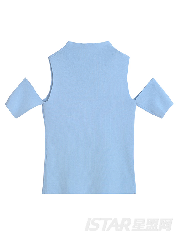 半高圆领露肩百搭修身短款镂空针织上衣打底衫