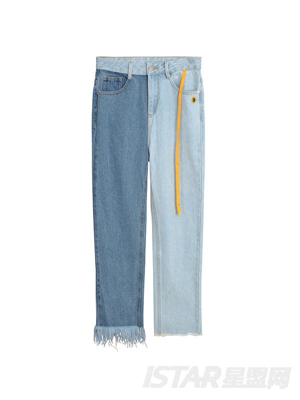 新款时尚个性潮流拼色直筒舒适毛边牛仔长裤