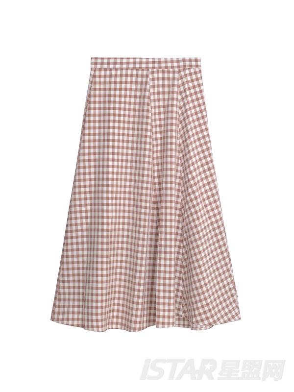格子半身长裙