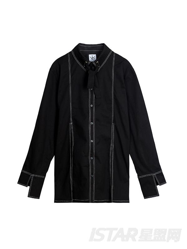 拼缝开口不对称袖口设计黑色衬衣