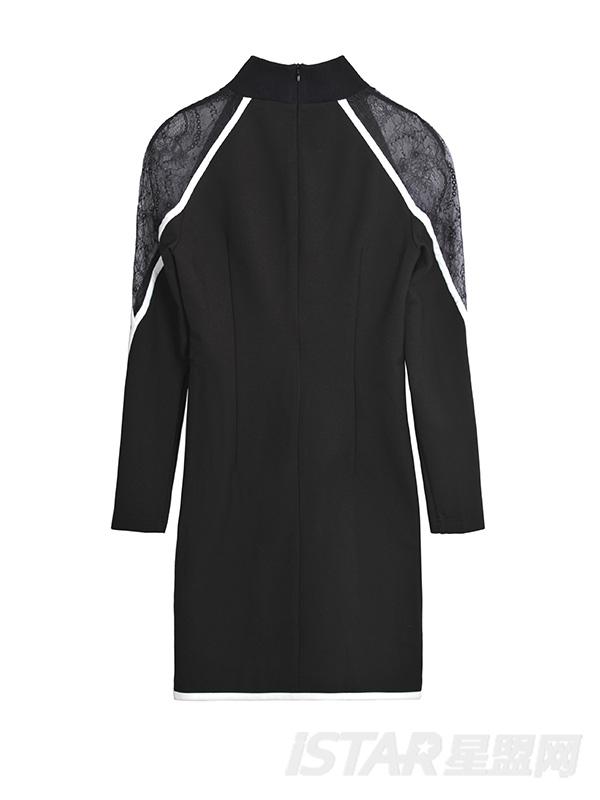 黑色蕾丝长袖包臀连衣裙