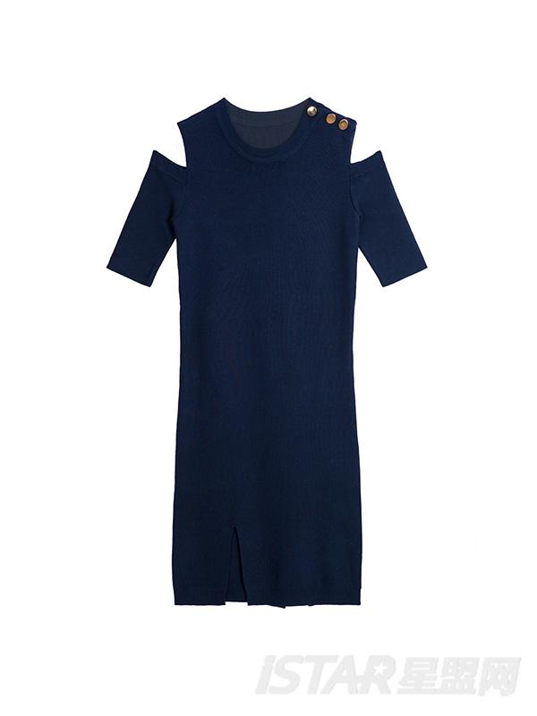 肩部金属扣露肩短袖连衣裙