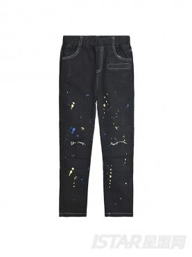 个性泼墨设计潮流舒适儿童牛仔长裤