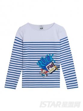 休闲圆领条纹猴子印花图案装饰长袖纯棉T恤