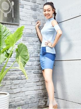 休闲时尚拼色牛仔裙高腰半身裙百搭显瘦包臀