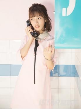 甜美公主领木耳边装饰7分袖连衣裙