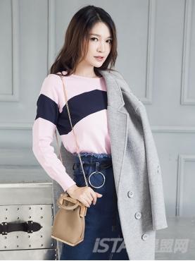 秋款毛针织衫粉色