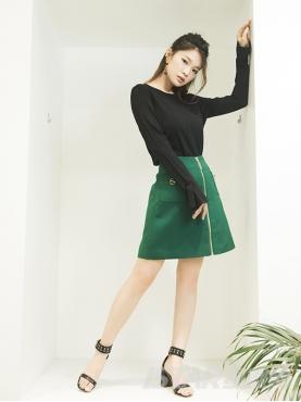 复古绿个性拉链简约舒适半身裙