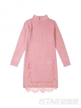 舒适半高领优雅纯色针织时尚秋冬连衣裙