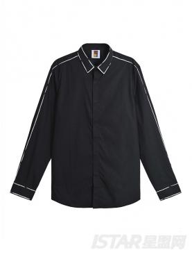 经典黑白色线条装饰修身斯文男士长袖纯棉衬衫