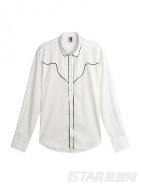 英伦睡衣款撞色镶边长袖衬衫男士圆角领修身衬衫