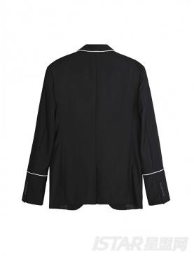黑色英伦复古撞色包边修身西服
