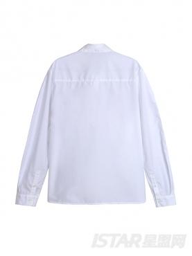 黑色趣味线条白色翻领衬衫