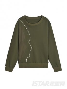 橄榄绿趣味线条套头卫衣