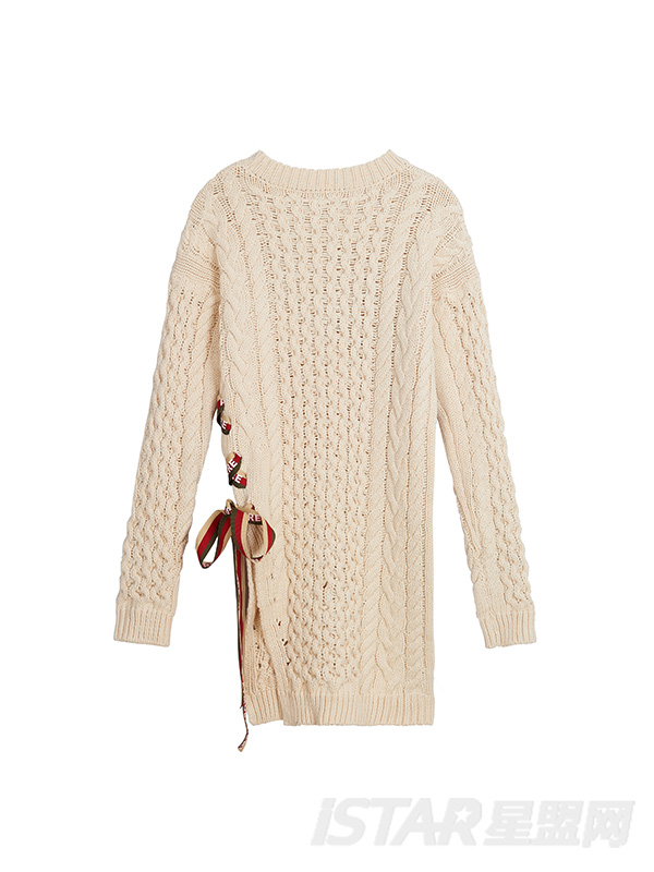 百搭不对称织带编织长款针织上衣