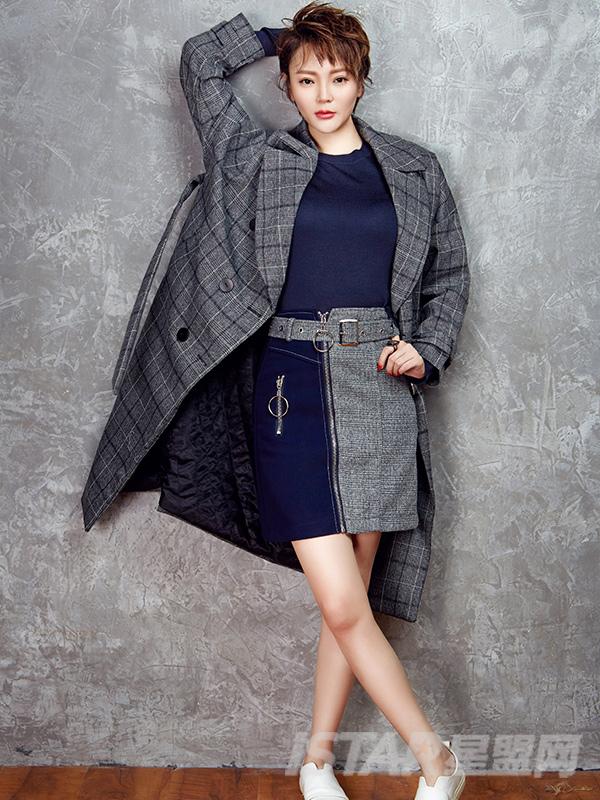 格子秋冬大衣廓形系带宽松显瘦收腰加厚中长外套女
