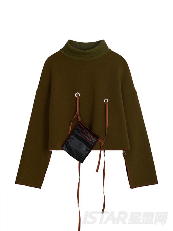 个性设计感口袋设计高领短上衣