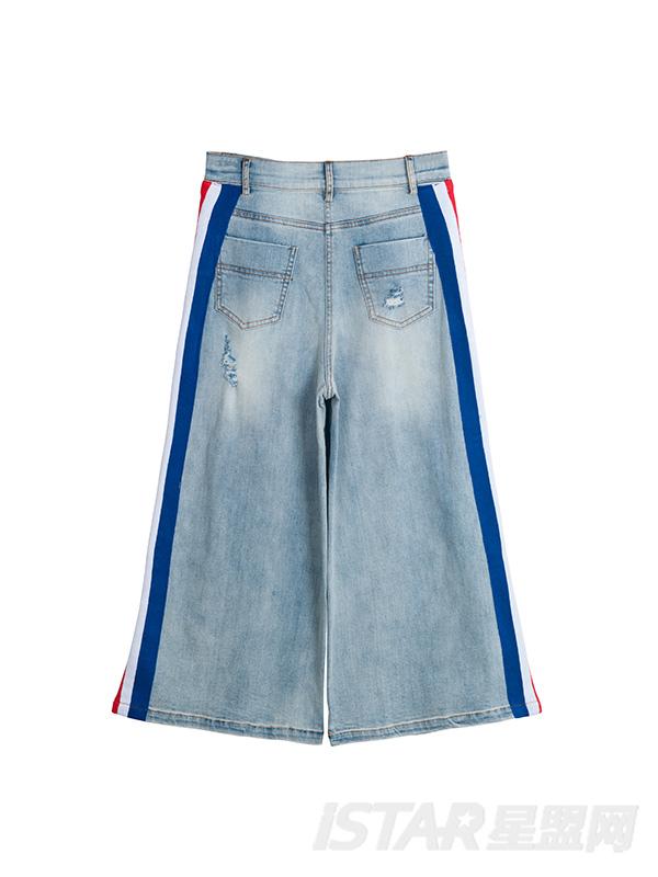 水洗牛仔裤棉阔腿裤磨破百搭七分裤