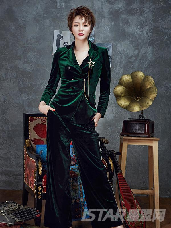 BF中性风丝绒西装时尚套装