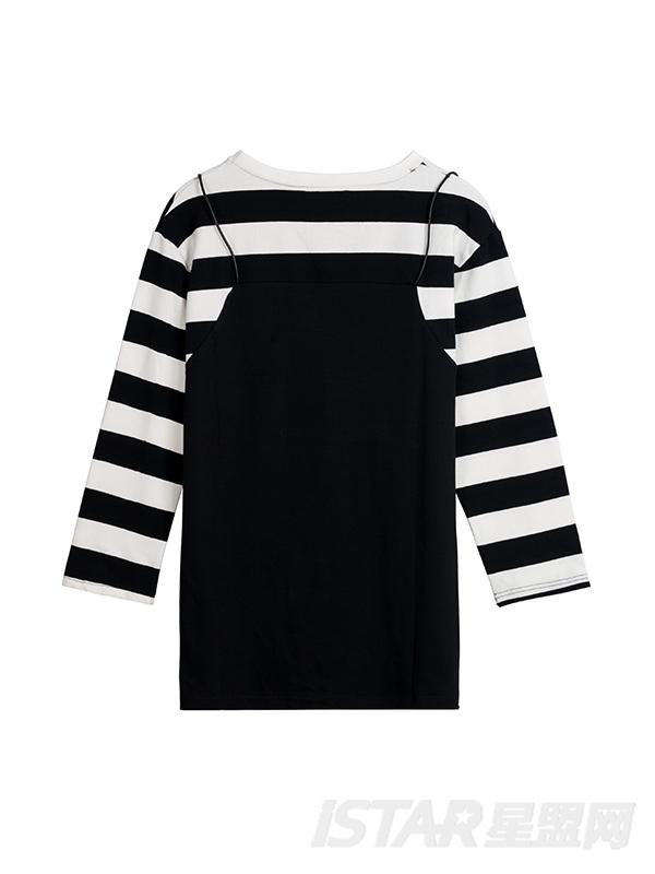 条纹拼接连衣裙