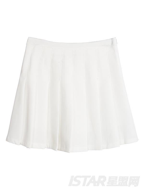 拼色条纹荷叶袖百褶裙套装