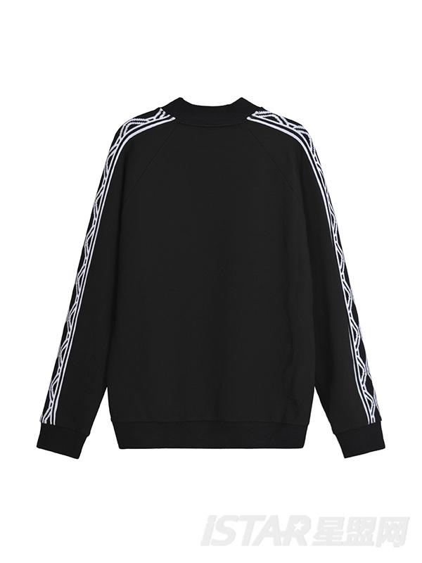 几何线条黑色套头卫衣