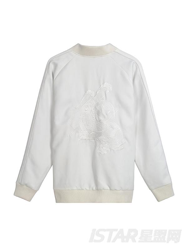 前后双鱼绣花白色短装棒球服