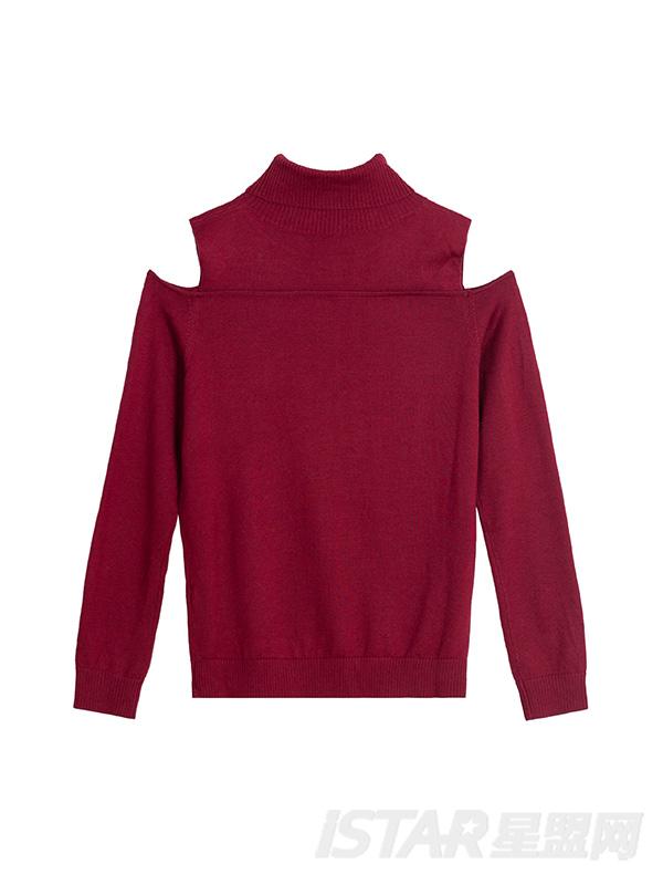 露肩高领酒红毛衫