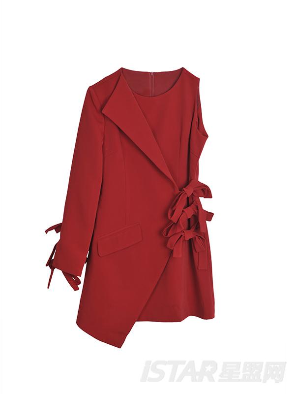 不对称设计酒红色蝴蝶结高档女士西装连衣裙