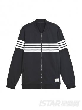 黑白条纹撞色休闲运动舒适外套