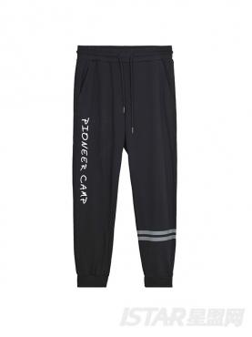 字母条纹装饰抽绳小脚纯棉休闲裤
